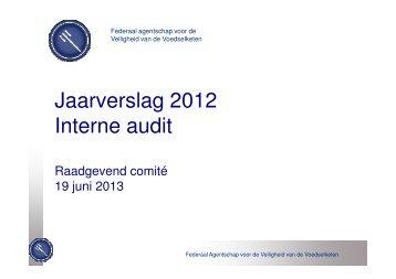 (Microsoft PowerPoint - jaarverslag 2012 - Raadgevend comit ... - Favv