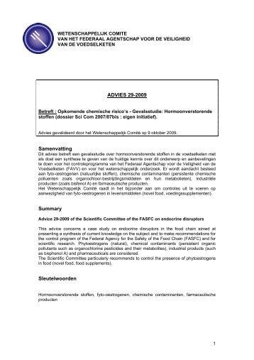 ADVIES 29-2009 van het Wetenschappelijk Comité van het FAVV
