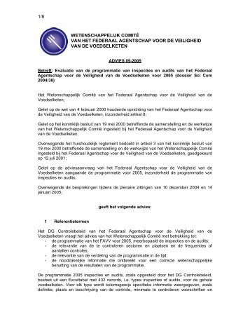 ADVIES 09-2005 van het Wetenschappelijk comité van het FAVV