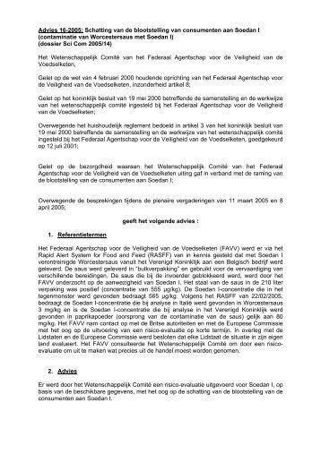 Advies 16-2005: Schatting van de blootstelling van ... - Favv