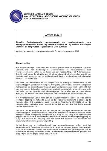 Advies 25-2012 van het Wetenschappelijk comité van het FAVV