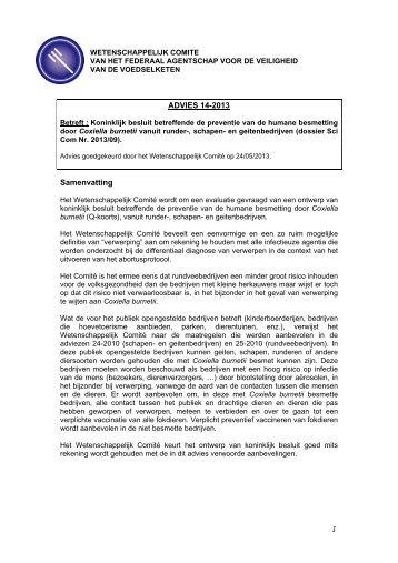 Advies 14-2013 van het Wetenschappelijk Comité van het FAVV