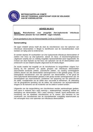 Advies 06-2013 van het Wetenschappelijk Comité van het FAVV