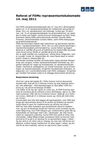 Referat af FDMs repræsentantskabsmøde 14. maj 2011