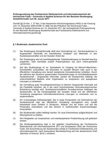 Prüfungsordnung und Modulbeschreibung - Hochschule Fulda