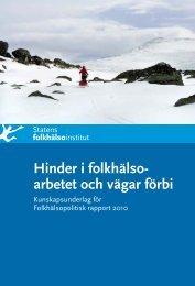 Hinder i folkhälsoarbetet - Statens folkhälsoinstitut