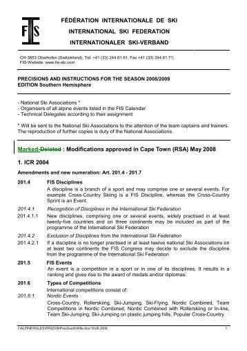 FÉDÉRATION INTERNATIONALE DE SKI INTERNATIONAL ... - FIS