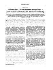 Reform des Gemeindesteuersystems - Zurück zur kommunalen ...