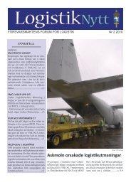 FÖRSVARSMAKTENS FORUM FÖR LOGISTIK Nr 2 2010
