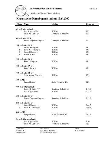 Kretsstevne Kanebogen stadion 19.6.2007 - Friidrett.no
