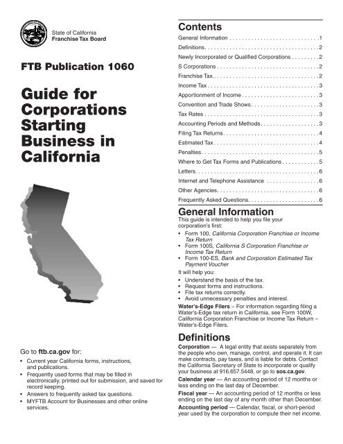 Guide For Corporations Starting Business In California Ftb