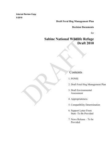 Sabine National Wildlife Refuge Draft 2010 Contents - U.S. Fish and ...