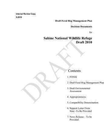 Sabine National Wildlife Refuge Draft 2010 Contents - U.S. Fish and ...
