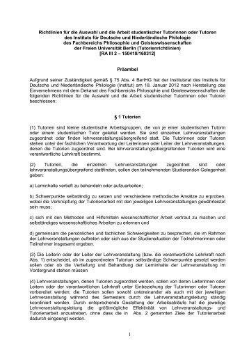 Tutorienordnung - Fachbereich Philosophie und ...