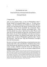 Die Dialektik der Liebe Freud und Paulus als therapeutische ...