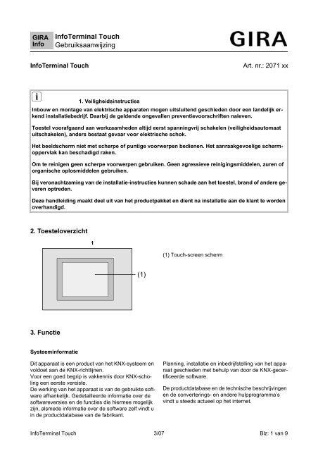 InfoTerminal Touch Gebruiksaanwijzing - Gira