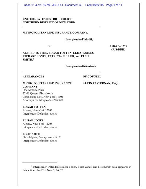 Met Life Insurance >> 04 1278 Metropolitan Life Insurance Company V Totten