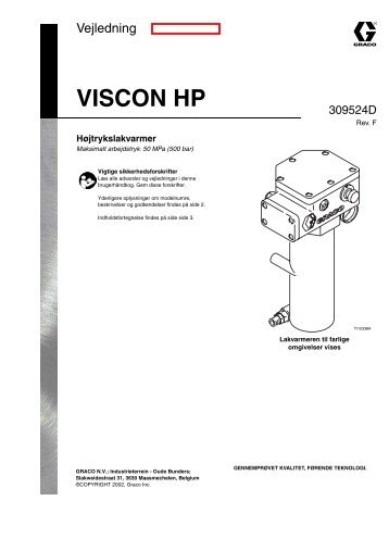 309524f , Viscon HP Højtrykslakvarmer - Graco Inc.