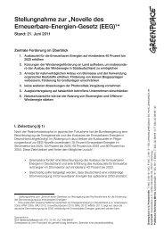 Greenpeace-Stellungnahme zum EEG