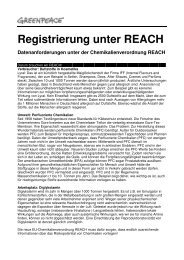 Registrierung unter REACH - Greenpeace