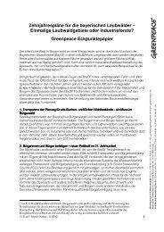 Greenpeace-Eckpunktepapier zum 10-Jahresplan BaySF