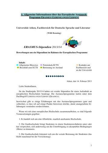 ERASMUS-Stipendien 2013/14