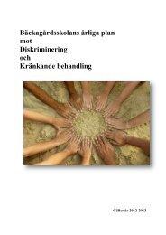 Bäckagårdsskolans årliga plan mot Diskriminering och ... - Halmstad
