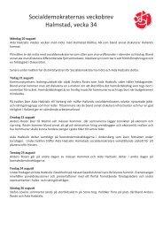 Socialdemokraternas veckobrev Halmstad, vecka 34