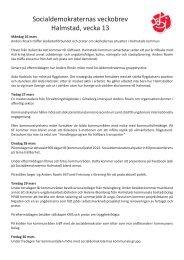 Socialdemokraternas veckobrev Halmstad, vecka 13