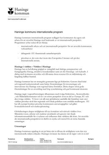 Haninge kommuns internationella program