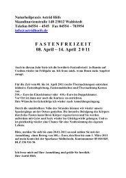 F A S T E N F R E I Z E I T  08. April – 14. April 2 0 11 - Höfs, Astrid