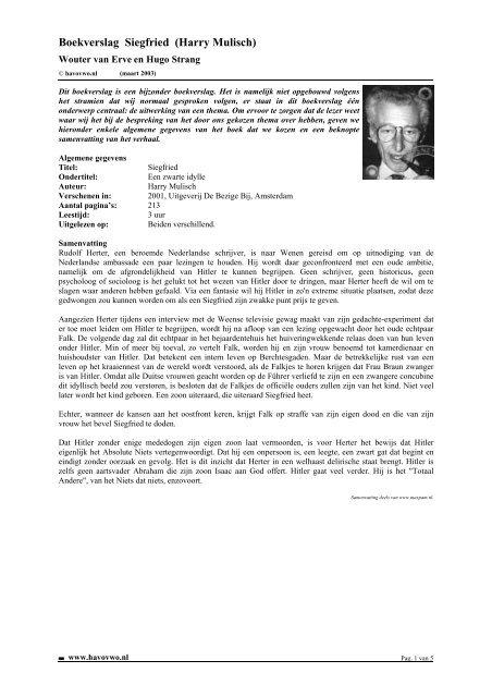 Voor Boekverslag Siegfried Harry Mulisch Havovwonl