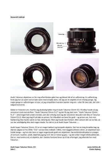 Generelt indtryk Asahi Takumar objektiver er for mig ... - HDRfoto.dk