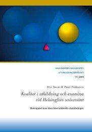 Kvalitet i utbildning och examina vid Helsingfors universitet - Helsinki.fi