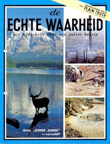 Echte Waarheid 1970 (No 1200) Dec - Herbert W. Armstrong Library ...