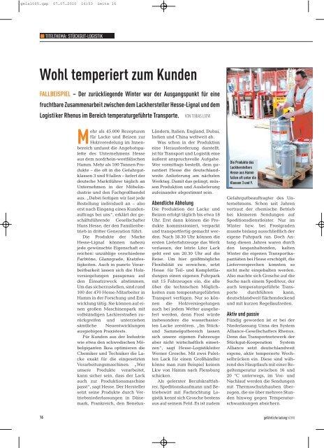 Wohl temperiert zum Kunden - Hesse Lignal