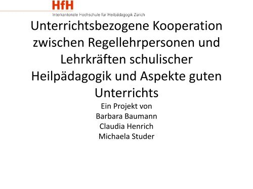 Barbara Baumann, Claudia Henrich, Michaela Studer (PDF ... - HfH