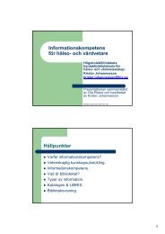 Informationskompetens för hälso- och vårdvetare Hållpunkter