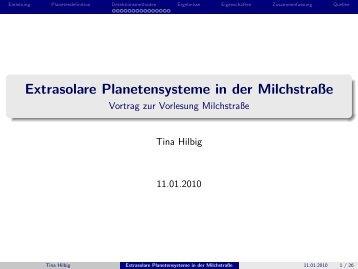 Extrasolare Planetensysteme in der Milchstraße