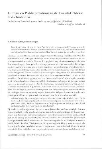 Human en Public Relations in de Twents-Gelderse textielindustrie