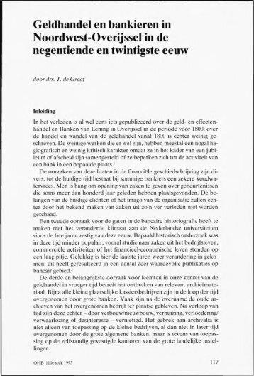 Geldhandel en bankieren in Noordwest-Overijssel in de ...
