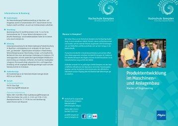 Produktentwicklung im Maschinen - Hochschule Kempten