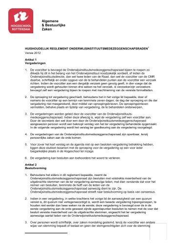 Huishoudelijk reglement Onderwijsinstituutsmedezeggenschapsraden