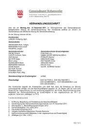 VERHANDLUNGSSCHRIFT - Hohenweiler