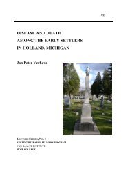 disease and death among the early settlers in ... - Hope College