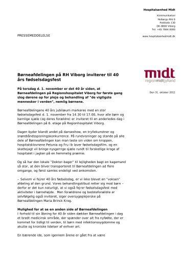 Børneafdelingen på RH Viborg inviterer til 40 års fødselsdagsfest