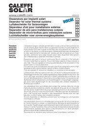 Disaeratore per impianti solari Deaerator for solar thermal ... - Caleffi
