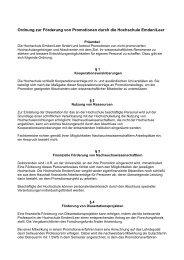 Ordnung zur Förderung von Promotionen durch die Hochschule ...