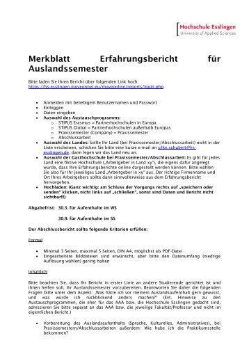 Merkblatt - Hochschule Esslingen