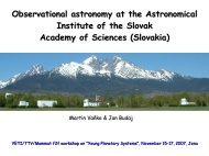 Observational astronomy at the Astronomical Institute of the Slovak ...